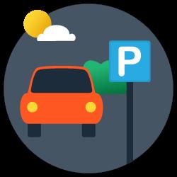 Parkplatz ankommen